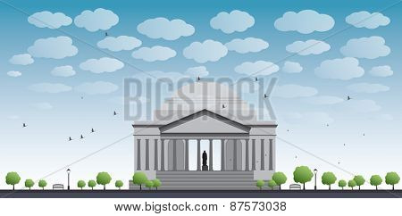 Thomas Jefferson Memorial, in Washington, DC, USA Vector illustration