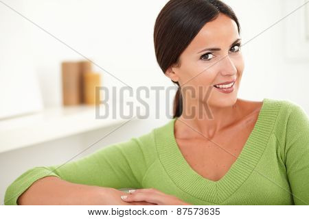 Confident Caucasian Woman Looking At Camera