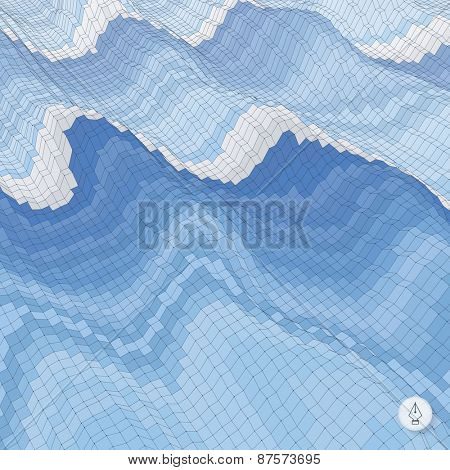Abstract background with waves. Mosaic. 3d vector illustration. Can be used for wallpaper, web page background, web banners.