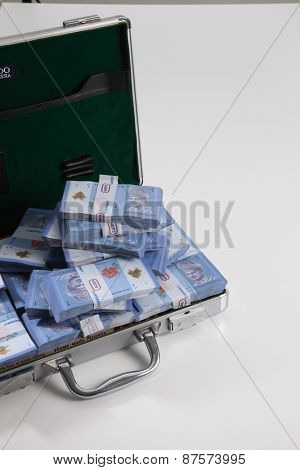brief case full of dollar on white background