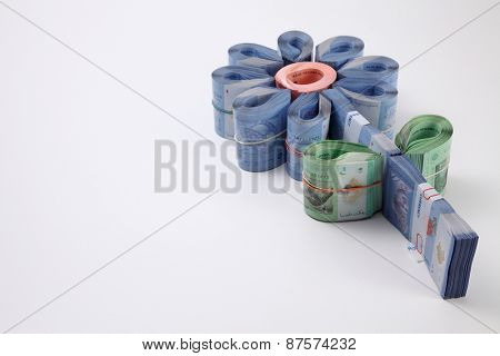 bills arrange to a flower shape