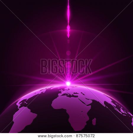 Rising Sun over the Earth Planet with Space Background for your Design. Stock Vector Illustration