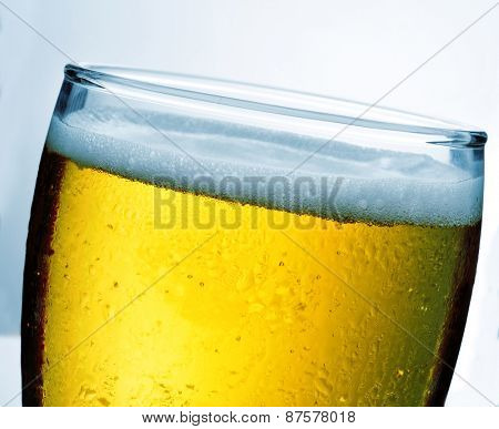 closeup of a glass with refreshing beer