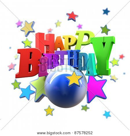 3D rendering of a Happy Birthday greeting message with stars