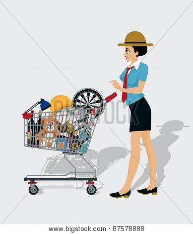 Woman Shopping Cart