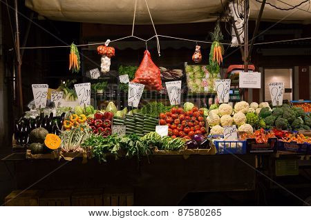 Vegetables On Display At A Market