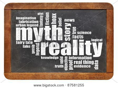 myth and reality word cloud on an isolated vintage slate blackboard