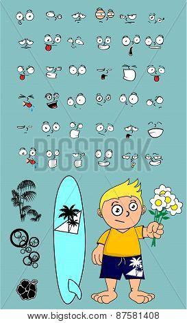 love surfer kid cartoon expression set