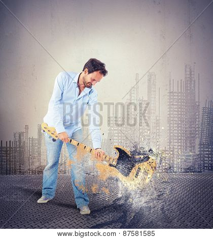 Breaking a guitar