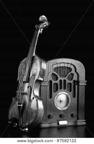 Old Radio And Violin.