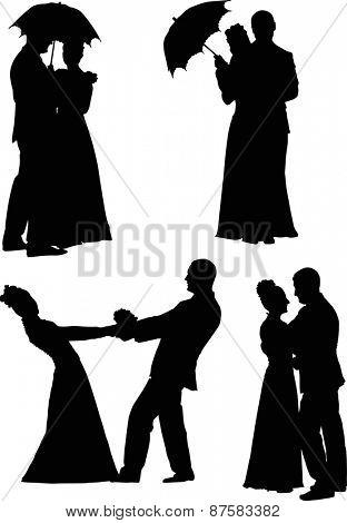 illustration with wedding couples isolated on white background