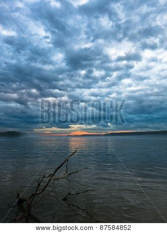 Low and dark clouds over Danube river before a storm in Belgrade