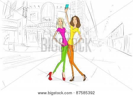 couple girls friends taking self photo picture with cell phone, young woman happy smiling in camera