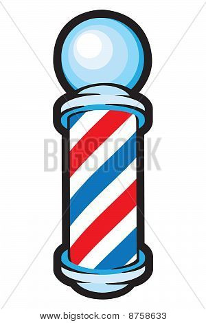 Barber Pole: Red, white and blue stripes.