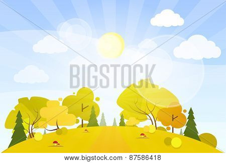 autumn landscape mountain forest road tree woods flat design