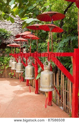 Buddhist bells in Wat Phan Tao, Chiang Mai, Thailand