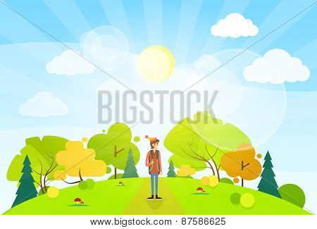 tourist with backpack over summer landscape mountain