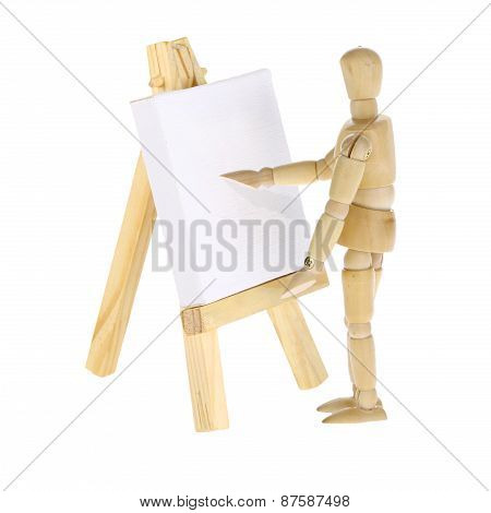 Mannequin Artist And Easel With Canvas