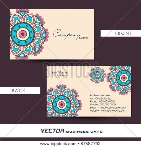 Colorful floral design decorated business card with proper place holders and two sided presentation.