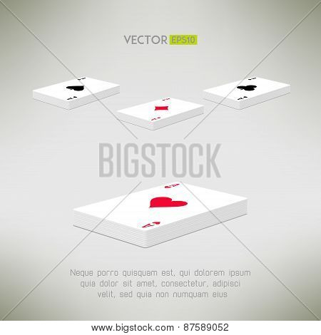 Playing cards deck with ace on top in realistic and clean design. Card perspective composition. Vect