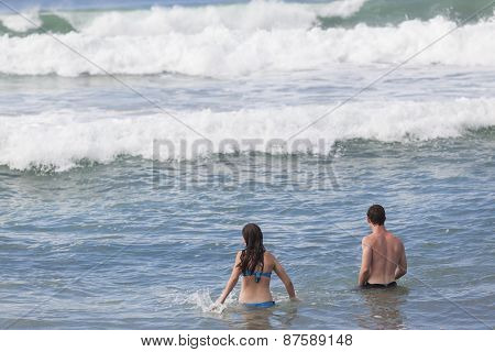 Girl Boy Swimming Beach