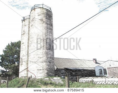 Silo for silage for cattle food, illustration