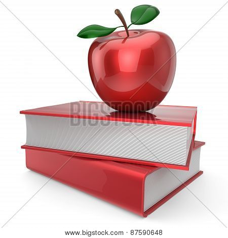 Books And Apple Red School Book Education Encyclopedia