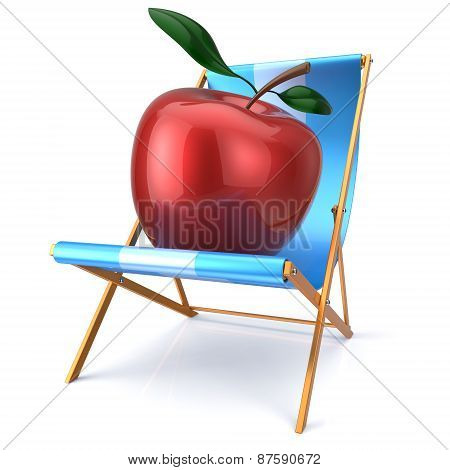 Red Apple Sitting In Beach Chair Fresh Healthy Vegetarian Diet