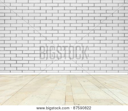 Brick wall with marble floor