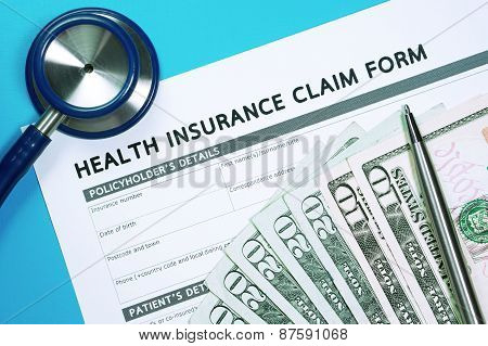 Health Insurance Claim Form With Money