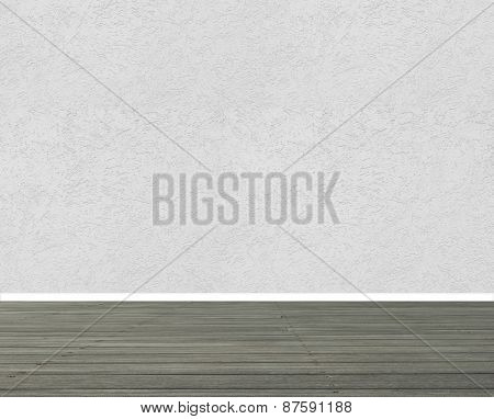 Textured white wall with grey wooden floor panels