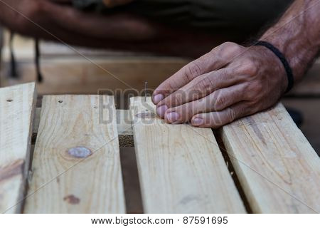Man Hand Working On Wood  -serial-