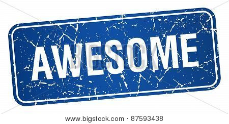 Awesome Blue Square Grunge Textured Isolated Stamp