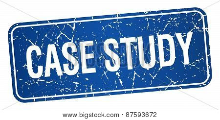 Case Study Blue Square Grunge Textured Isolated Stamp