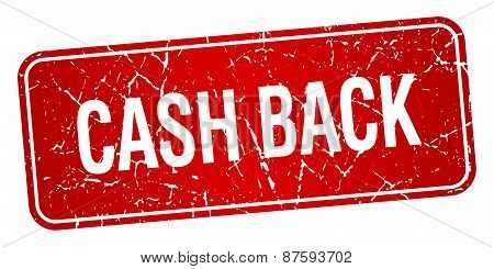 Cash Back Red Square Grunge Textured Isolated Stamp