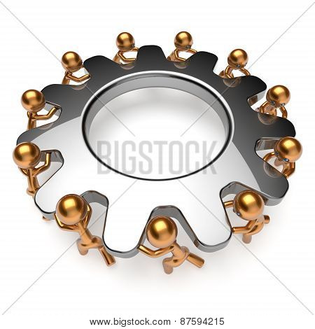 Teamwork Business Process Man Characters Turning Gear Together