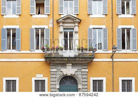 Facade of a residential house in Rome, Italy