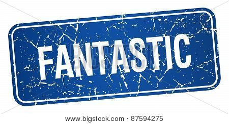 Fantastic Blue Square Grunge Textured Isolated Stamp