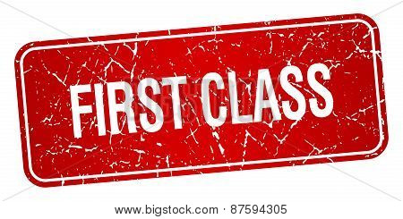 First Class Red Square Grunge Textured Isolated Stamp