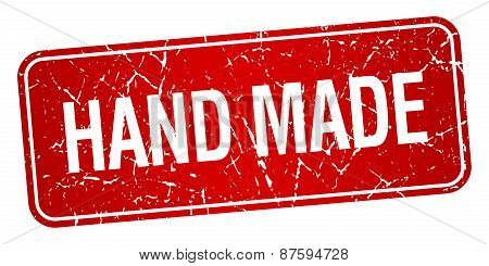 Hand Made Red Square Grunge Textured Isolated Stamp