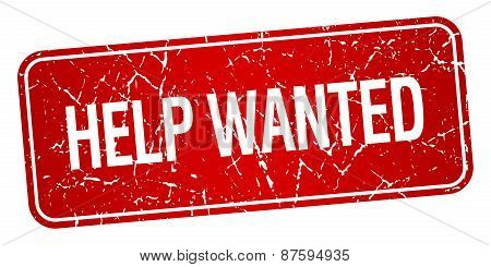 Help Wanted Red Square Grunge Textured Isolated Stamp