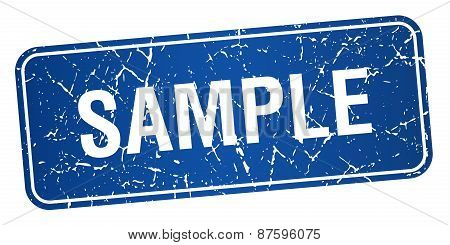 Sample Blue Square Grunge Textured Isolated Stamp