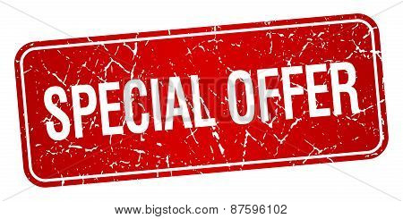 Special Offer Red Square Grunge Textured Isolated Stamp