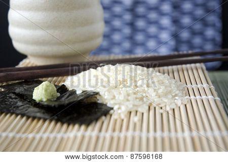 Close Up Japanese Rice On Mat
