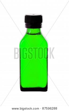 Close Up Of Medicine Bottle With Green Syrup Isolated On White Background