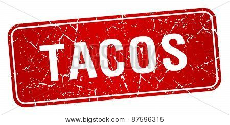 Tacos Red Square Grunge Textured Isolated Stamp