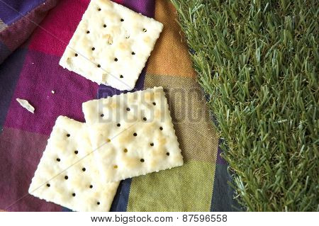 Crackers On Color Background