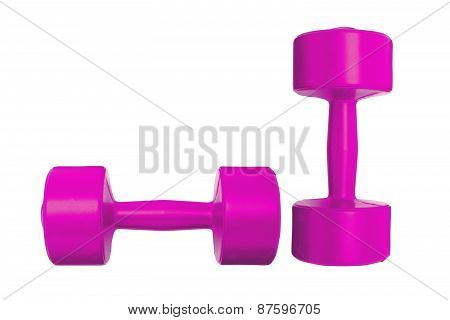 Pink Dumbbells Fitness Isolated On White