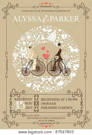 Wedding Invitation Card With Retro Bride And Groom On BicycleWreath Icons Composition Swirling FrameSet Of Flat Items White Silhouette