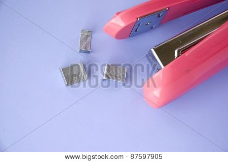 Pink Stapler On Background